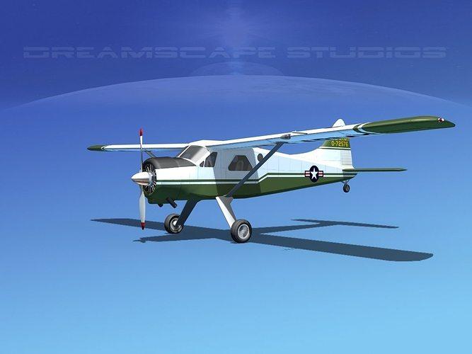 dehaviland dh-2 beaver us army 2 3d model max obj mtl 3ds lwo lw lws dxf stl 1