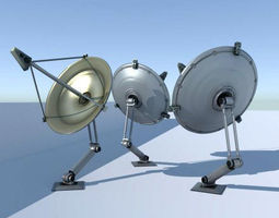 animated 3d model game-ready rigged satellite dishes