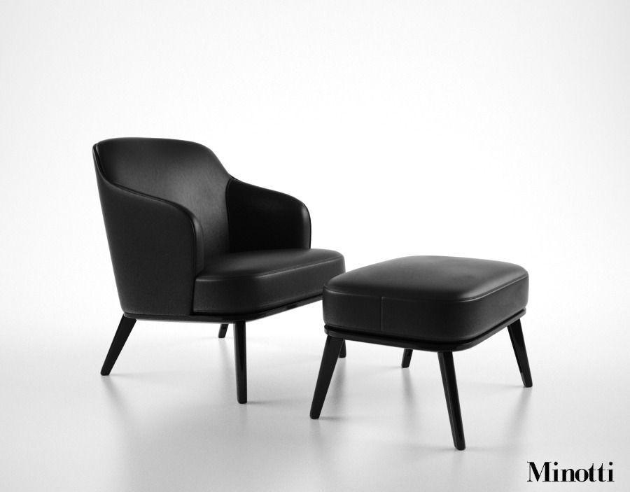 Minotti Leslie armchair 3D Model MAX OBJ FBX MTL ...