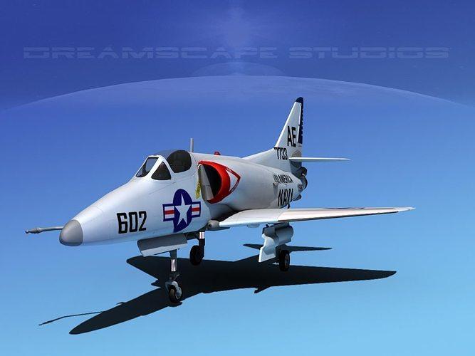 douglas a-4d skyhawk v05 usn 3d model max obj 3ds lwo lw lws dxf stl 1
