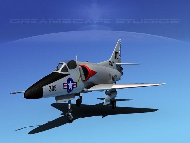 douglas a-4d skyhawk v06 usn 3d model max obj 3ds lwo lw lws dxf stl 1