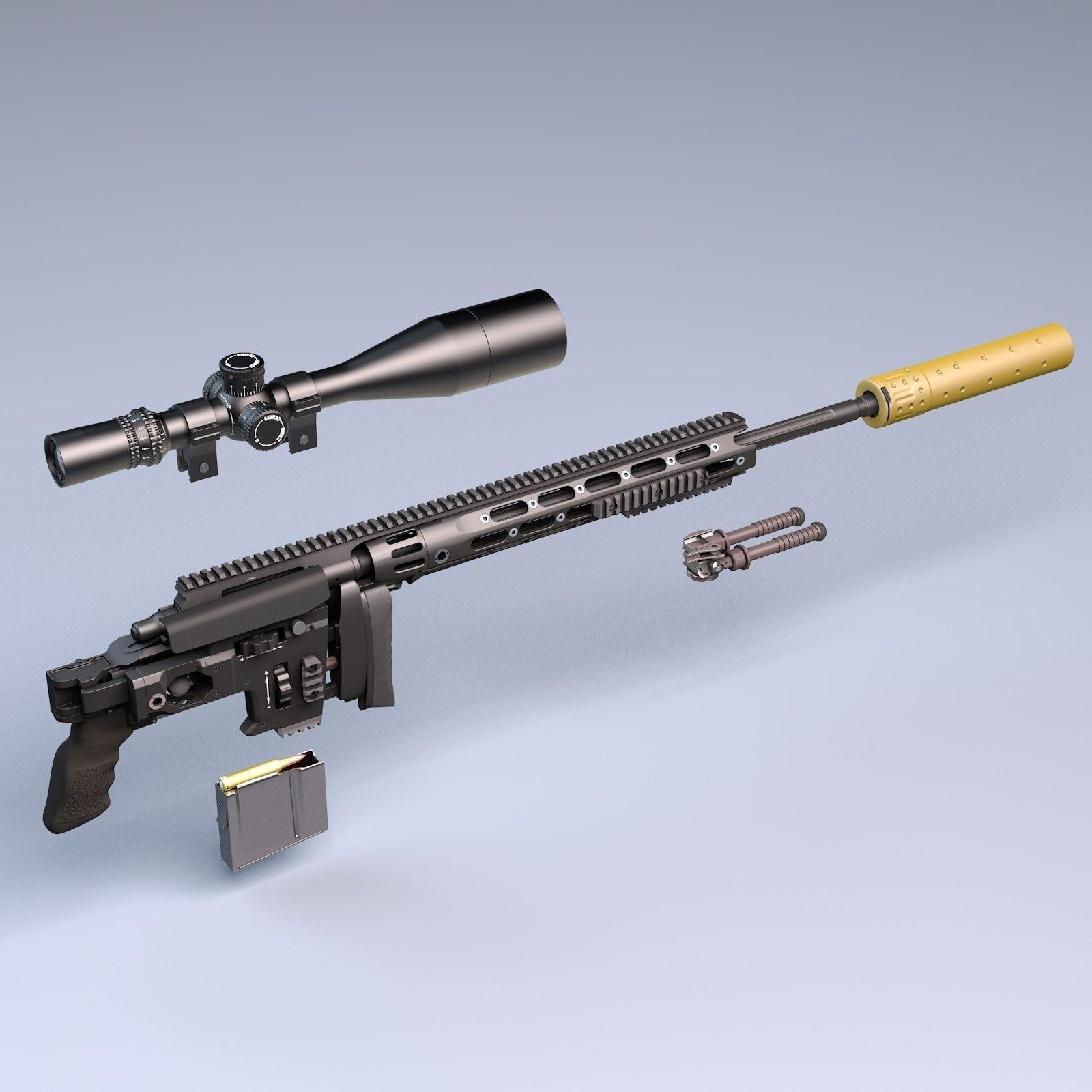 Remington XM2010 sniper rifle 3D Model .obj .3ds .c4d .lwo ...