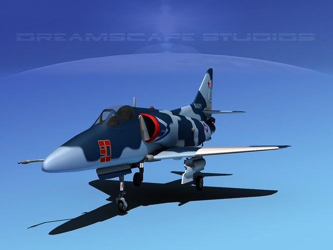 douglas a-4d skyhawk v16 usn aggr 3d model max obj mtl 3ds lwo lw lws dxf stl 1