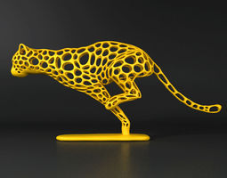 Cheetah Voronoi Wireframe 3D print model