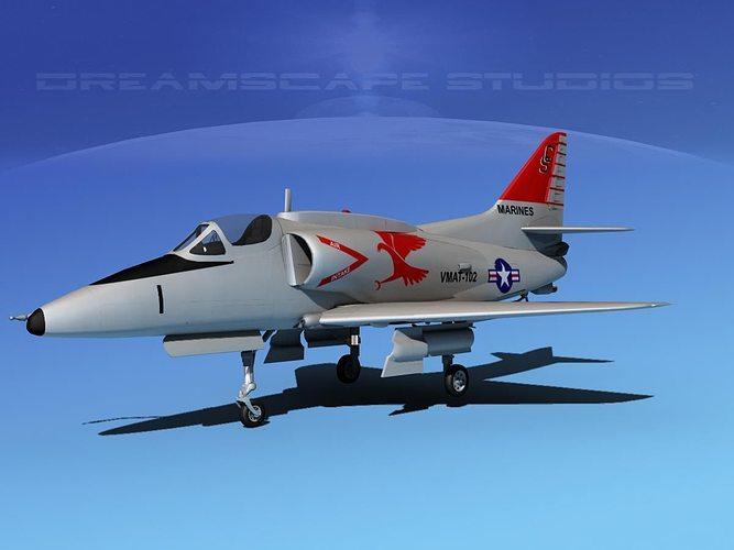 douglas a-4g skyhawk usmc 3d model max obj 3ds lwo lw lws dxf stl 1
