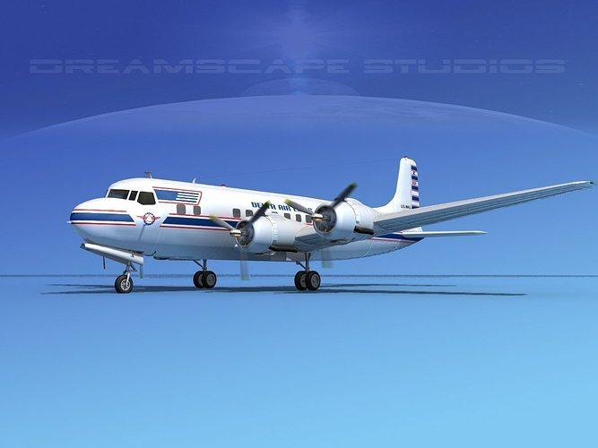 douglas dc-6 delta airlines 1 3d model max 3ds lwo lw lws dxf stl 3dm 1