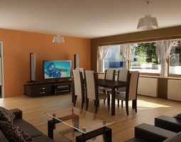 3D Dining room and Living room