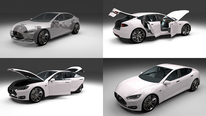 tesla model s with chassis and interior cgtrader. Black Bedroom Furniture Sets. Home Design Ideas