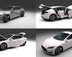 tesla model s with chassis and interior 3d model obj fbx stl blend dae