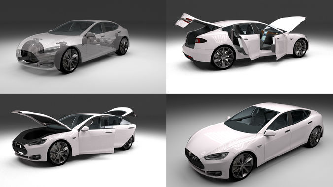 Tesla Model S with chassis and interior3D model