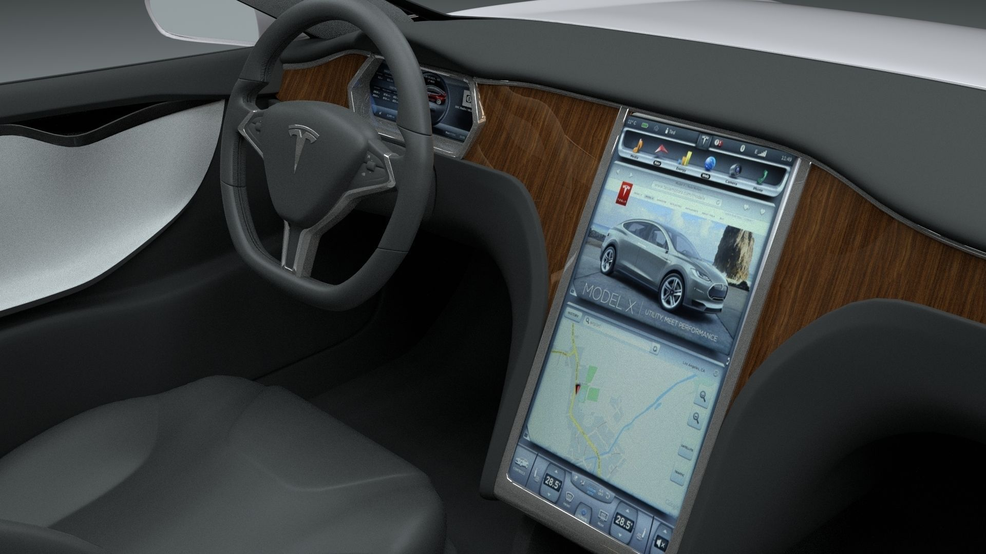 tesla model s with chassis and interior 3d model obj fbx stl blend dae. Black Bedroom Furniture Sets. Home Design Ideas