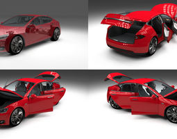Tesla Model S with chassis and interior red 3D Model