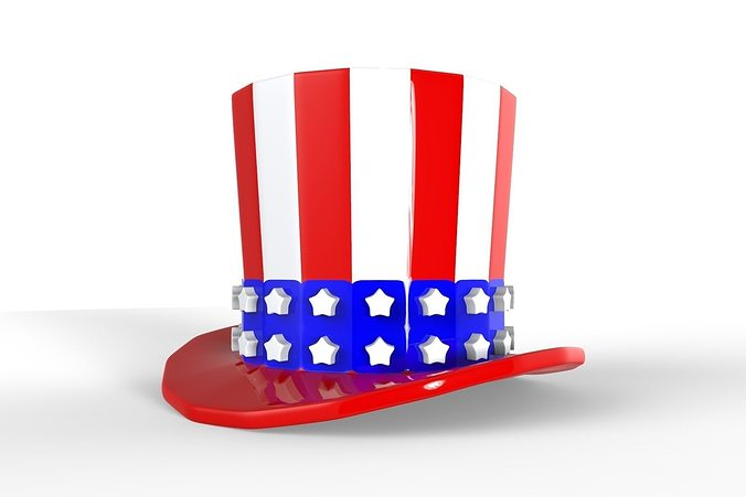 uncle sam hat 3d model obj 3ds fbx stl mtl 1
