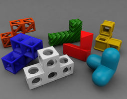 Soma cube puzzle game 3D Model