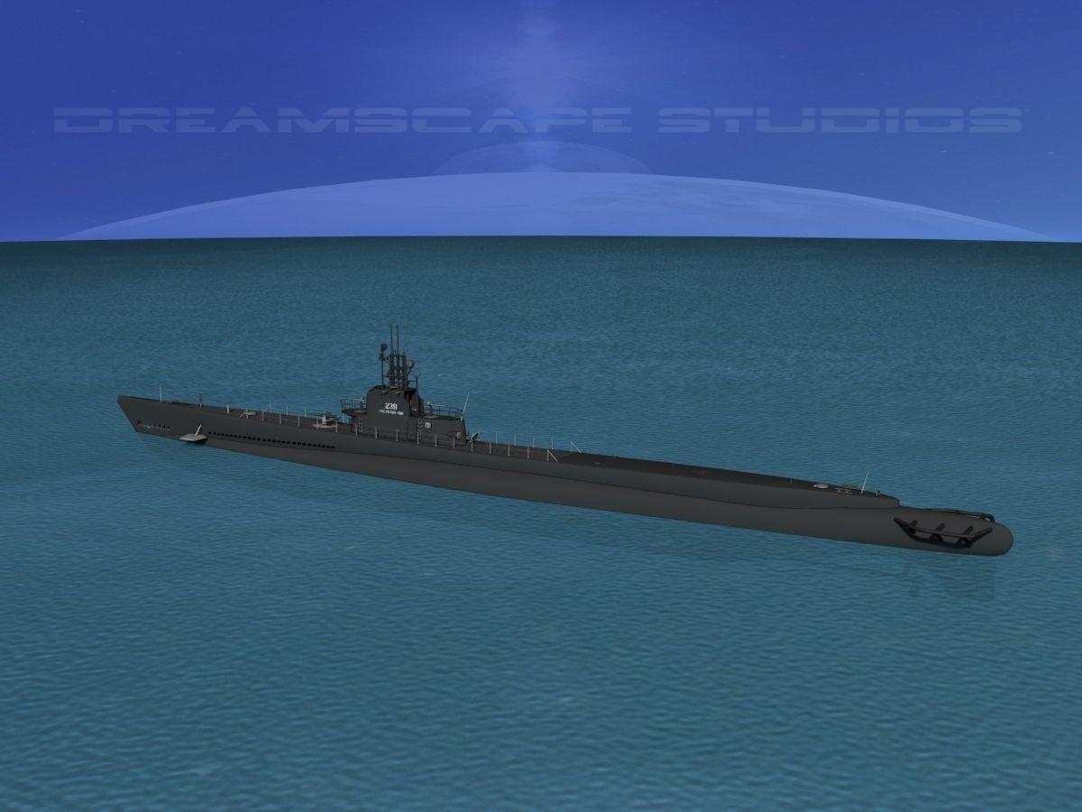 Gato Class Submarine SS 229 USS Flying Fish 3D Model
