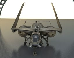 Futuristic Combat Jet Rigged 3D Model