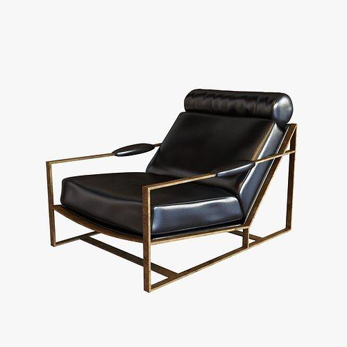 Milo Baughman Rare Bronze Frame Black Leather Lounge Chair