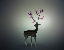 3D Deer with Flowers