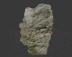 low-poly scanned white realistic rockwall game-ready 3d model