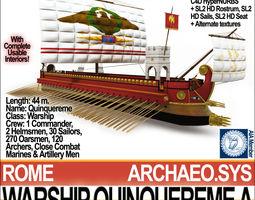 Roman Warship Quinquereme A 3D Model