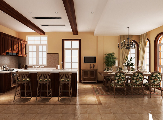 Kitchen Dining Great Room3D model