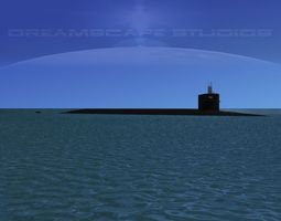 ohio class uss nevada ssbn-733 rigged 3d model