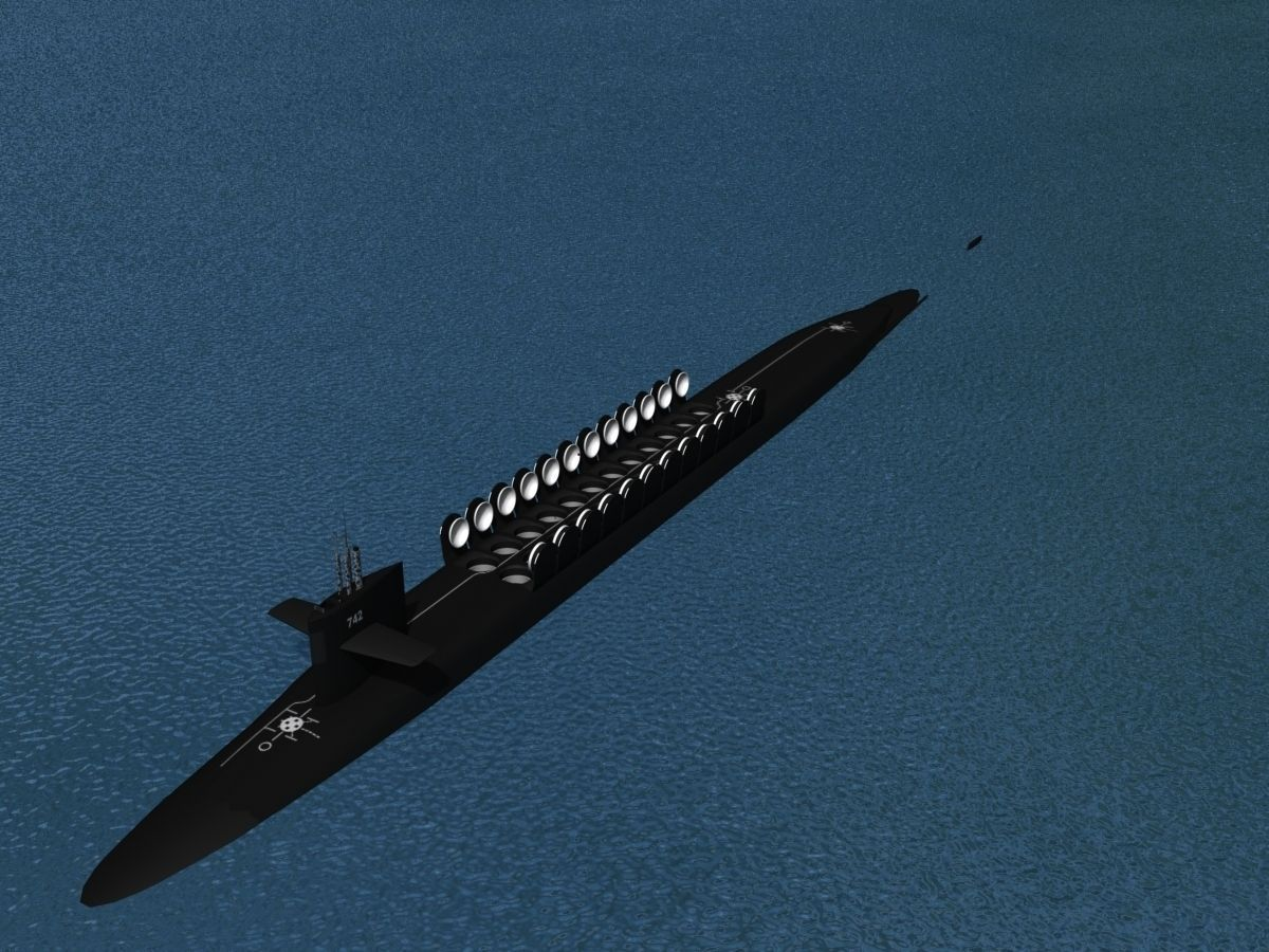 Ohio class uss wyoming ssbn 742 3d model rigged max obj 3ds lwo