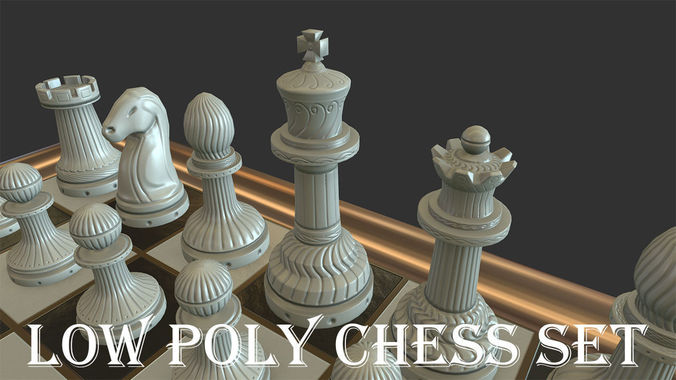Low poly Chess Set3D model