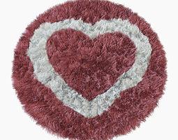 Round rug heart 3D Model