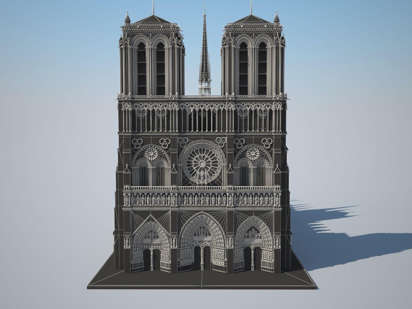 Notre dame de paris cathedral 3d model max obj 3ds fbx c4d for Exterior notre dame