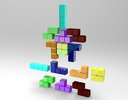 3d asset tetris blocks realtime
