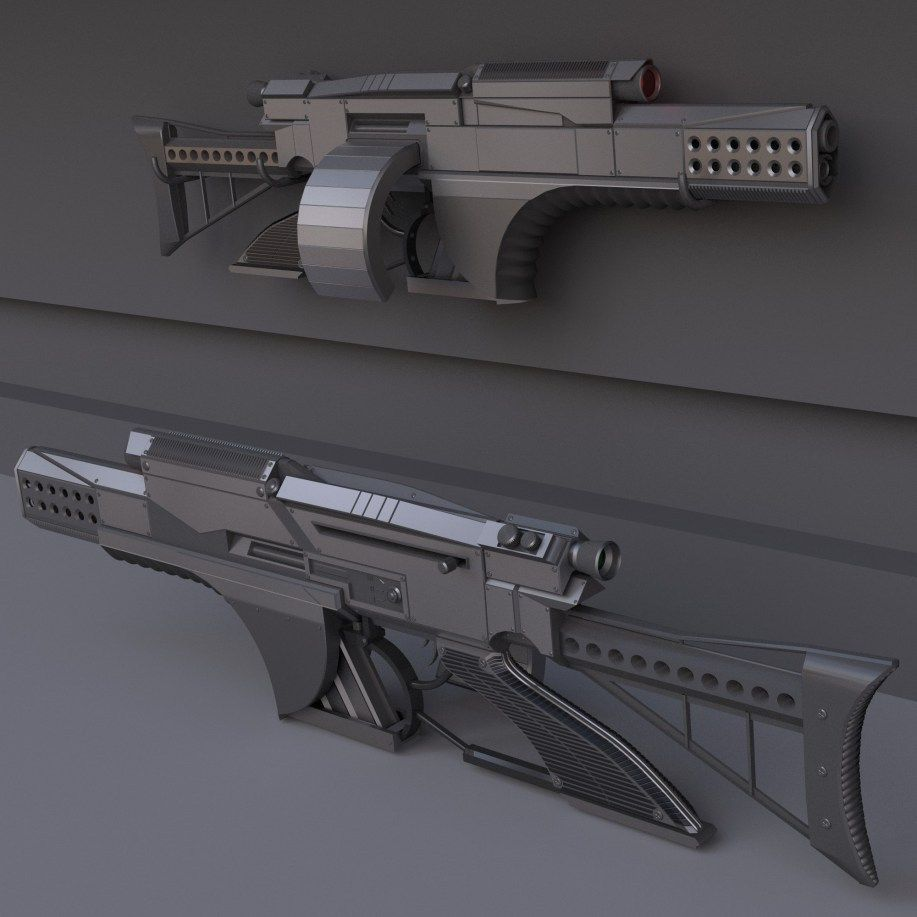 Futuristic Weapon Concept High-Poly-Version