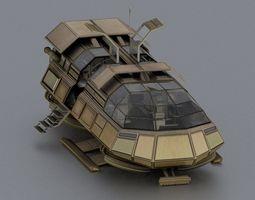 Futuristic Transport Shuttle Rigged 3D Model