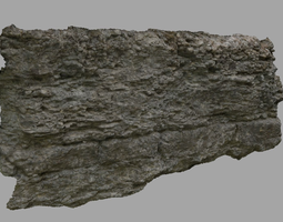 big scanned rock wall game-ready low-poly 3d model