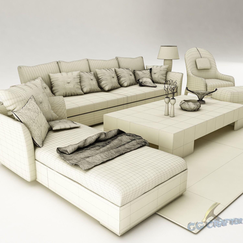 Sofa Set 075 3d Model Max Obj 3ds Fbx