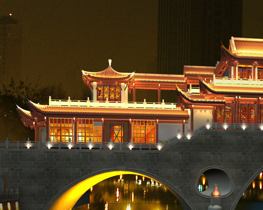 Anshun China  city photo : China ancient birdge AnShun bridge nigh... 3D Model .max .3ds ...