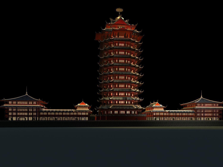 Exterior: The Shita Tower Night Scene 3D Model MAX 3DS