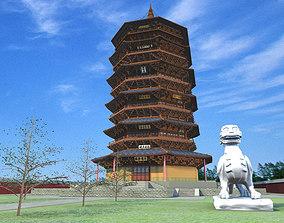 shrine The Yinxian Timber pagoda 3D
