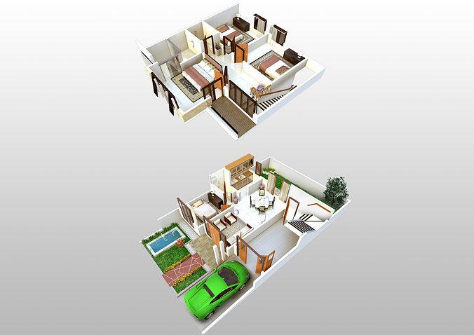 3D Floorplan of 2 Storey House | 3D model