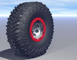 animated game-ready micky thompson baja claw ttc tire and bead lock wheel  3d asset