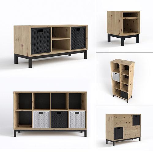 scandinavian furniture set 3d model max obj fbx mtl 1