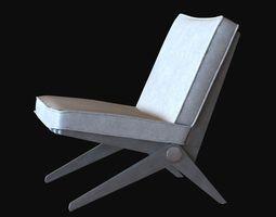 Pierre Jeanneret Easy Scissor Chair knoll 3D Model