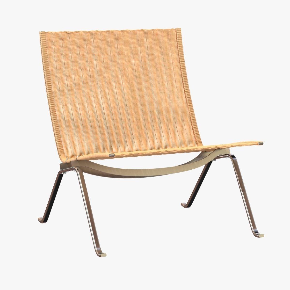 ... Poul Kjaerholm Rattan Lounge Chair 3d Model Max Obj 3ds Fbx Mtl 3 ...