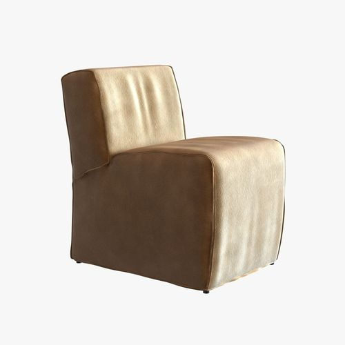 soft suede armless chair3D model