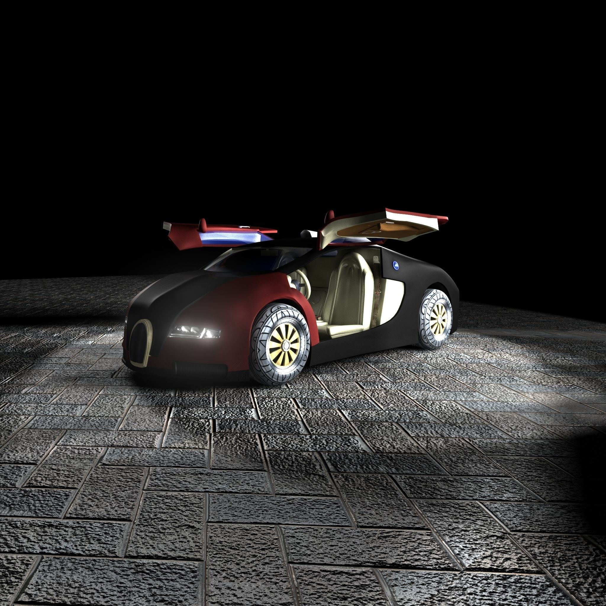 3d model bugatti veyron 3d model with interior vr ar low poly ma mb. Black Bedroom Furniture Sets. Home Design Ideas