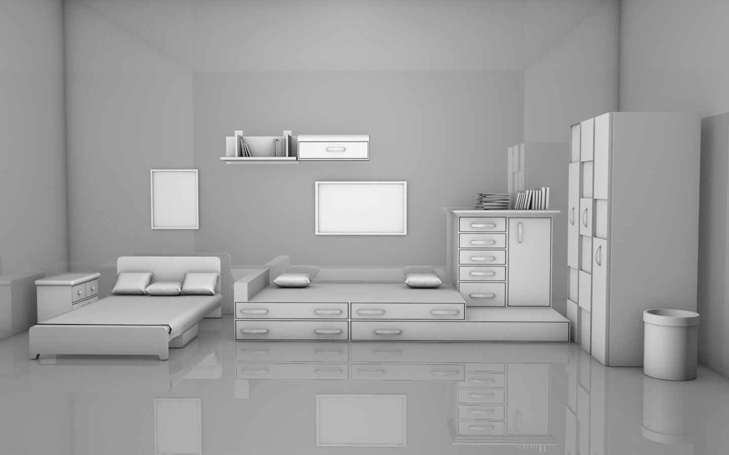 Kids room interior free 3d model obj c4d for Bedroom designs 3d model