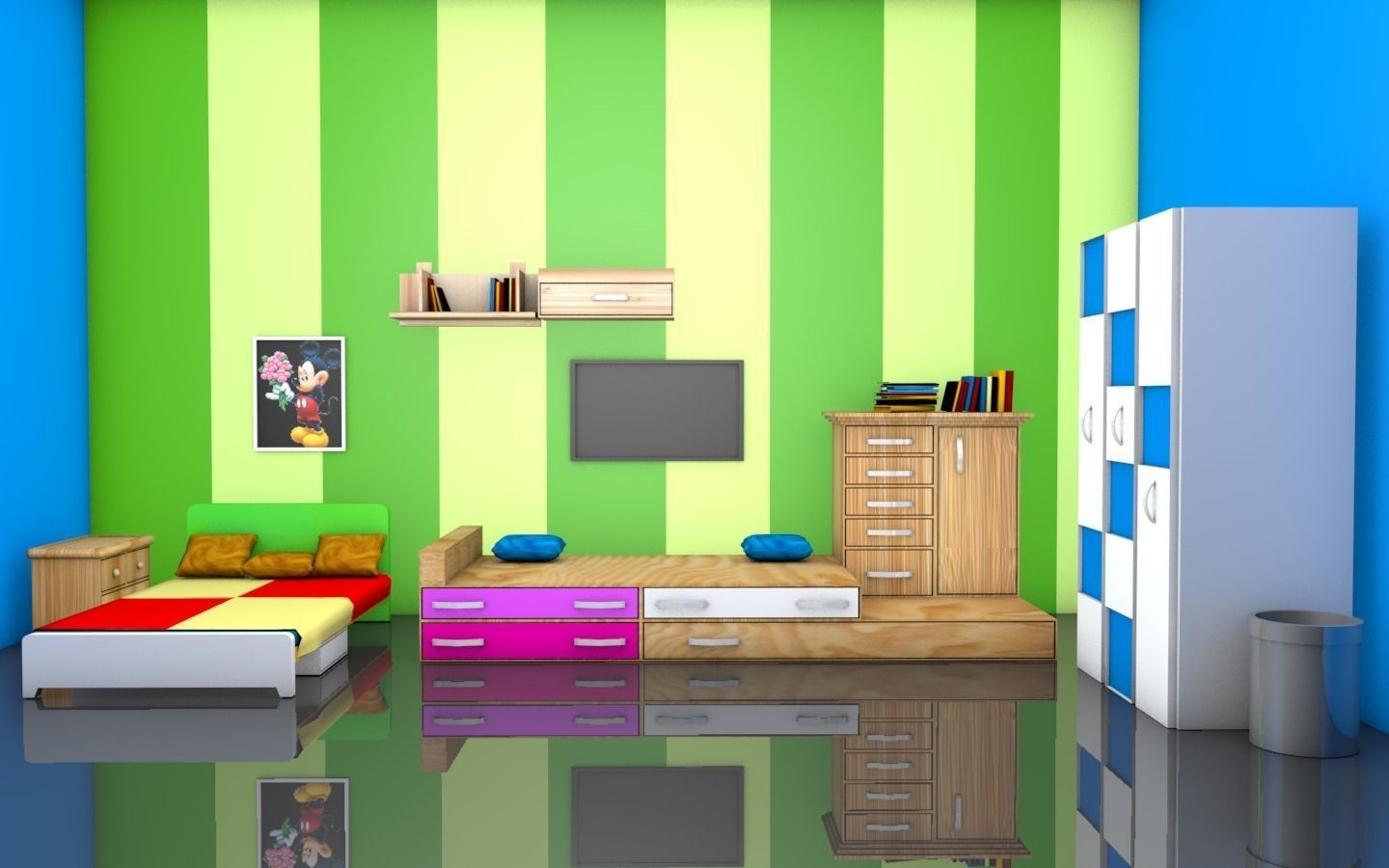 Kids room interior free 3d model obj c4d 3d room design software free
