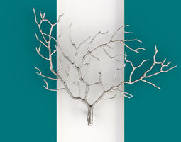 Metal Tree Branch Wall Sculpture 3D