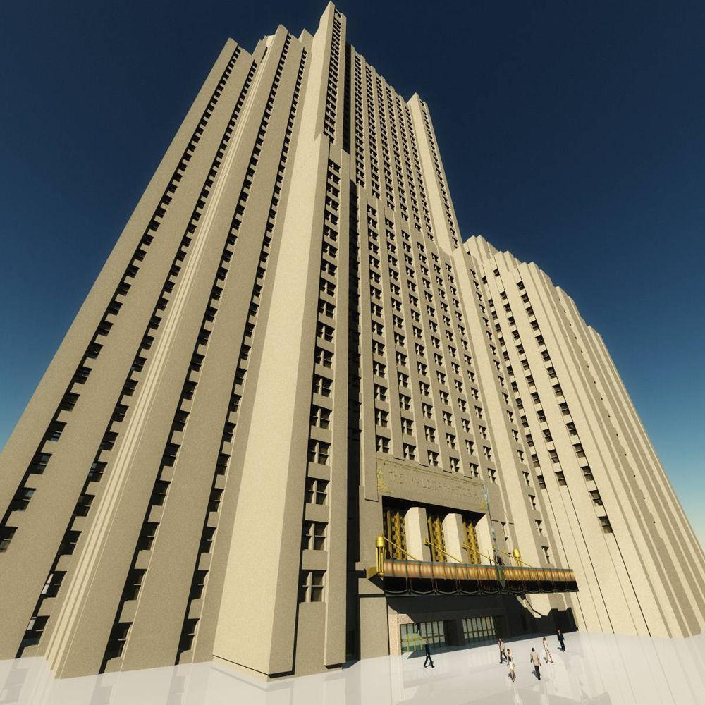 Waldorf astoria hotel 3d model obj fbx dae for Hotel waldorf astoria