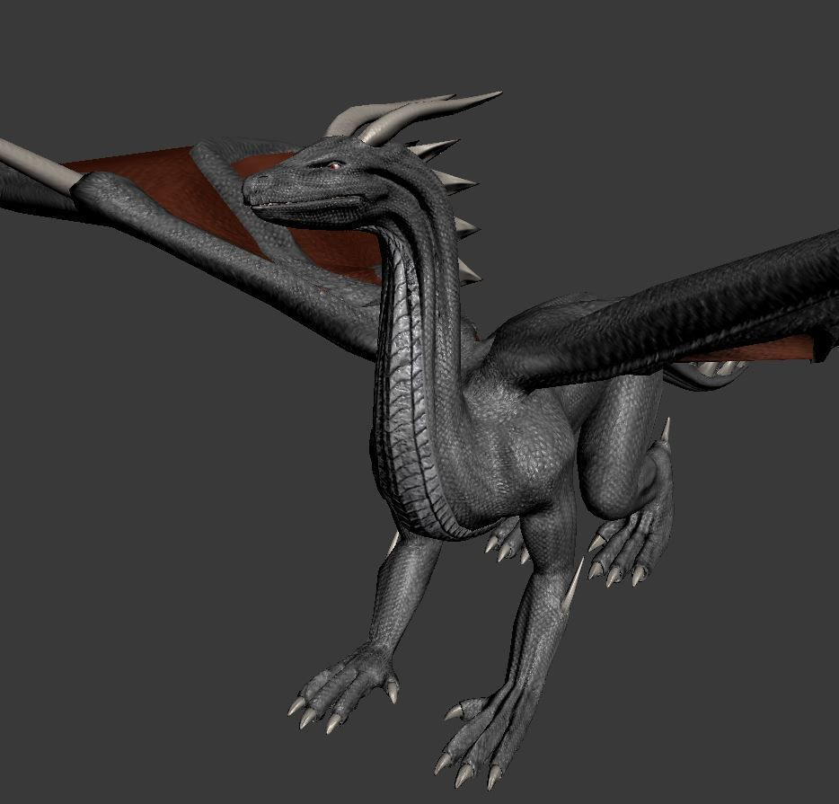 Black Dragon Rigged And Game Ready Free VR / AR / Low-poly